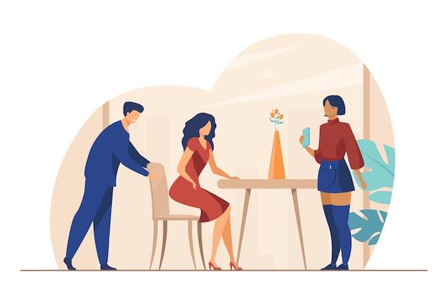 Oberkellner begrüßt kunden im café. frau, die am tisch sitzt, kellner, der bestellung flache vektorillustration annimmt. restaurant, service