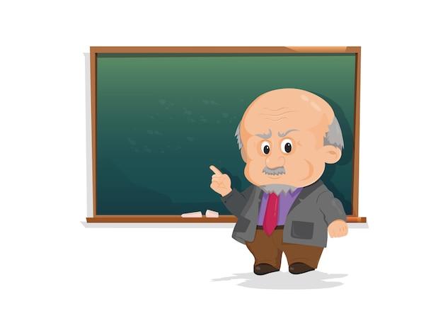 Oberlehrer, professor, der vor tafel steht, der schüler im klassenzimmer unterrichtet.