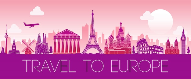Oberster berühmter markstein von europa, schattenbilddesign-rosafarbe