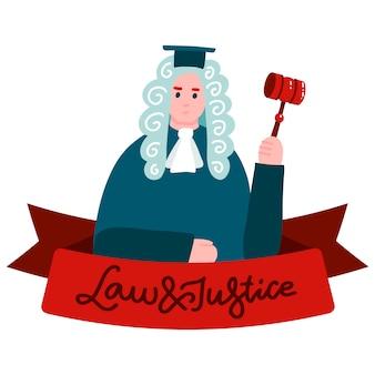 Oberster gerichtshof, justiz. richter in mantel und perücke zeichentrickfigur mit schriftzug gesetz und gerechtigkeit am band.
