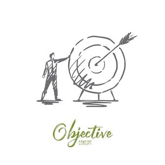 Objektive darstellung in der hand gezeichnet