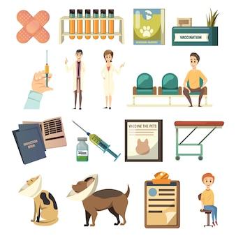 Obligatorische impfung orthogonale icons set