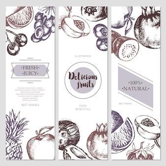 Obst-banner - moderne handgezeichnete designillustration des vektors mit exemplar für ihr logo. trauben, kirschen, ananas, erdbeere, kokosnüsse, apfel.