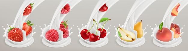 Obst, beeren und joghurt. realistische illustration.