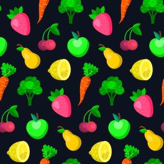 Obst, gemüse, beeren nahtloses muster