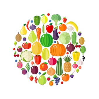 Obst, gemüse und beeren in kreisform.
