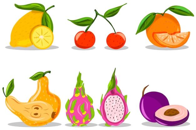 Obst. handzeichnung. drachenfrucht, birne, orange, pflaume.
