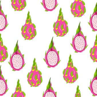 Obst. handzeichnung. nahtloses muster der drachenfrucht