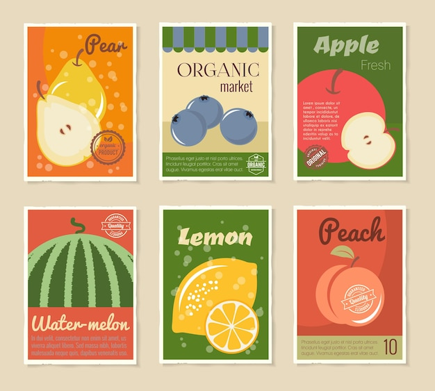 Obst retro poster set