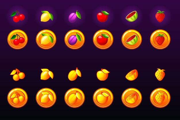 Obst slots icon set. spiel goldene münze symbol. spielkasino, slot, benutzeroberfläche. symbole auf separaten ebenen.