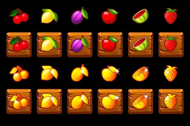 Obst-slots-symbol auf holzquadrat gesetzt. spielcasino, slot, benutzeroberfläche. symbole auf separaten ebenen.