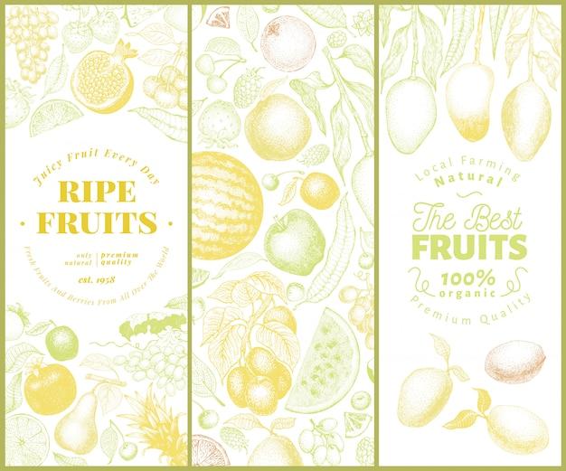 Obst und beeren banner gesetzt