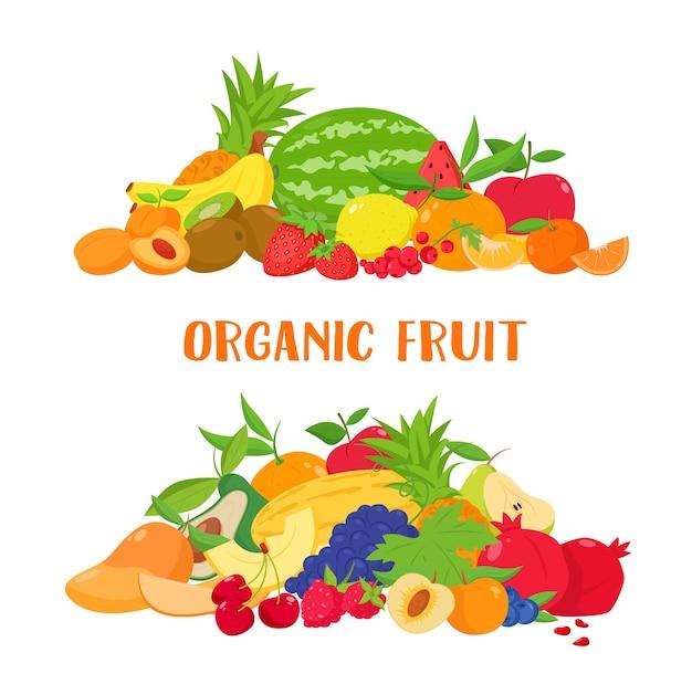 Obst und beeren banner im cartoon-stil