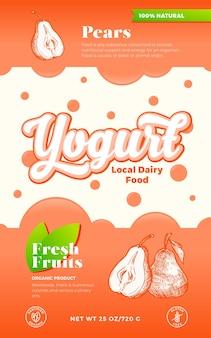 Obst und beeren joghurt etikettenvorlage. abstrakter vektor-molkereiverpackungs-design-layout. moderne typografie-fahne mit blasen und hand gezeichneten birnen-skizzen-silhouette-hintergrund. isoliert.