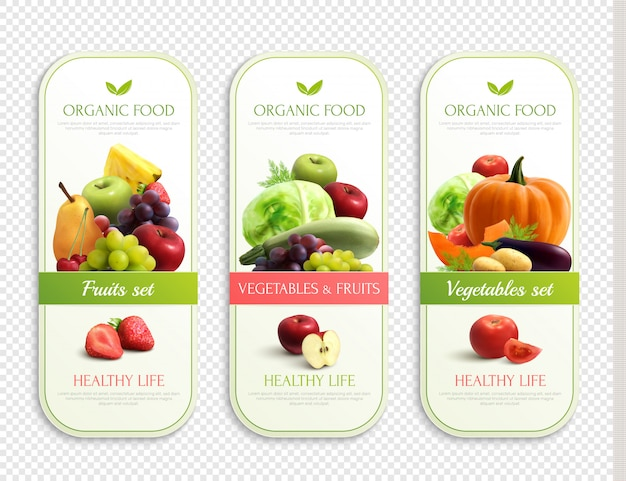 Obst und gemüse bio-etiketten
