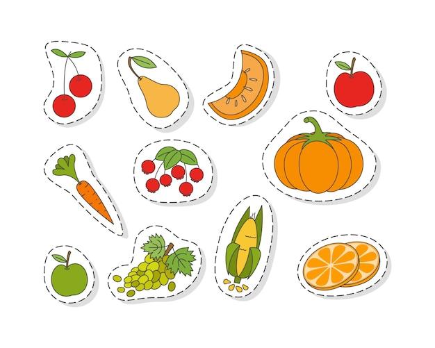 Obst und gemüse flache aufkleber set