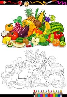 Obst und gemüse für malbuch