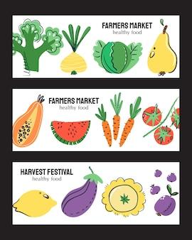 Obst und gemüse hand gezeichnete banner-set. gesunde mahlzeit, ernährung oder lebensstil.