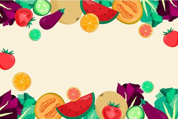 Obst und gemüse im hintergrundstil