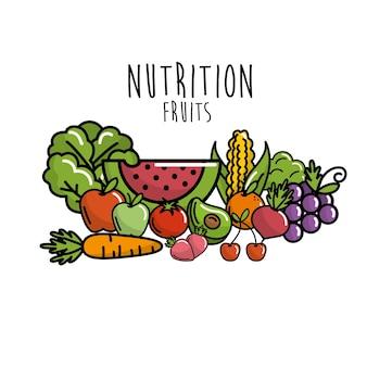 Obst und gemüse mit proteinfutter