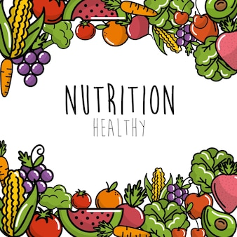 Obst und gemüse mit proteinlebensmittelhintergrund