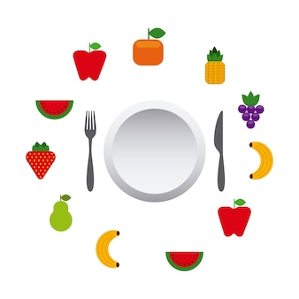 Obst und gemüse rund um teller und besteck