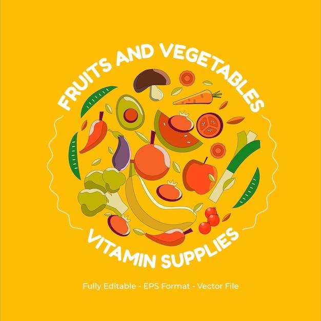Obst- und gemüse-sortiment-illustration gemacht im flachen design-stil