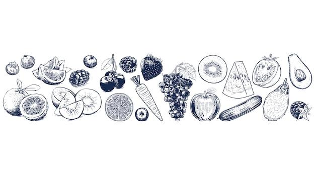 Obst und gemüse stellten auf weißen hintergrund ein
