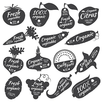 Obst und gemüse vektor aufkleber, etiketten, logos
