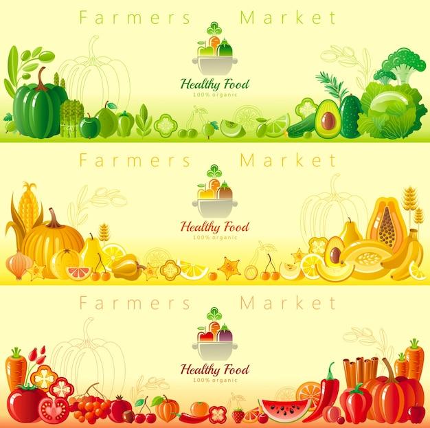 Obst- und gemüsebanner. bauernmarkt mit frischen bio-lebensmitteln. erntefest gesetzt