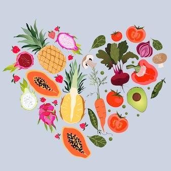 Obst- und gemüseherz. gesundes essen und fitnesskonzept. vielzahl von frischem obst und gemüse in herzform organisiert. gelbe ananas, avocado, papaya, rote beete. trendiges design.