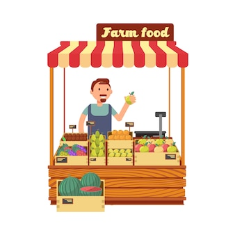 Obst- und gemüsemarkt kaufen mit flacher vektorillustration des glücklichen jungen landwirtcharakters