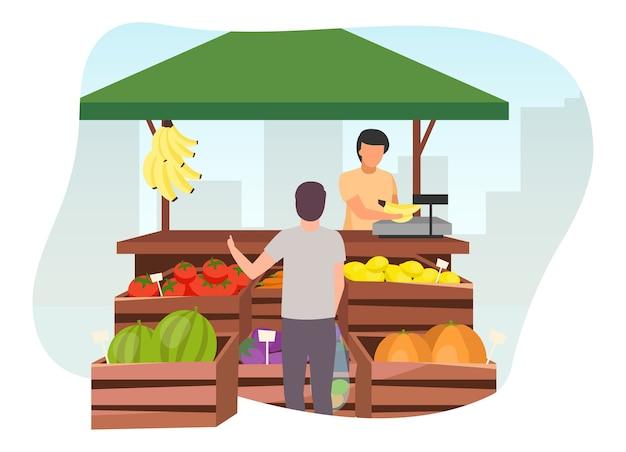 Obst- und gemüsemarktstand mit flacher illustration des verkäufers. mann, der landwirtschaftliche produkte, öko- und bio-lebensmittel am handelszelt mit holzkisten kauft. sommermarktstand, lebensmittelgeschäft im freien straßengeschäft