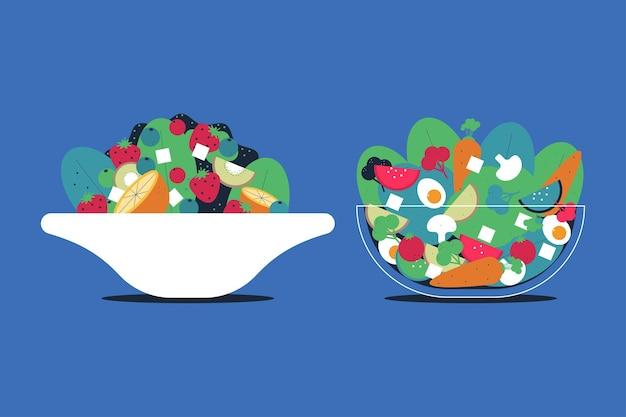 Obst- und gemüsesalat in schüssel
