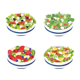Obst- und gemüsesalat serviert in schüsselset