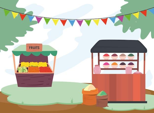 Obst- und gewürzmärkte außerhalb des designs des einzelhandelsgeschäfts und kaufen themenillustration