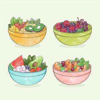 Obst- und salatschüsseln eingestellt
