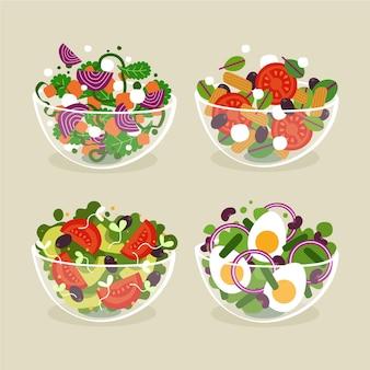 Obst- und salatschüsseln im flachen stil