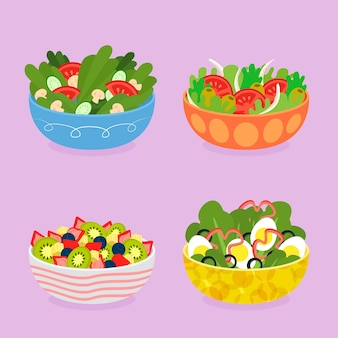 Obst- und salatschüsseln-konzept