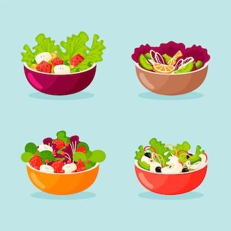 Obst- und salatschüsseln packen