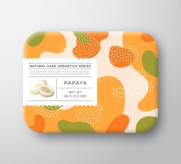 Obstbad kosmetikbox vektor verpackter papierbehälter mit pflegeetiketten-verpackungsdesign