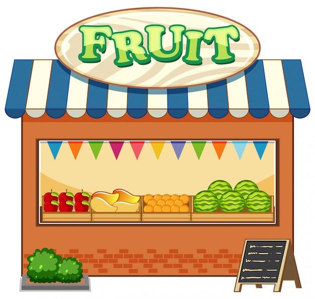 Obstladen mit fruchtlogo-karikaturstil isoliert