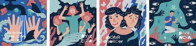 Ocd verhaltensobsessive zwangshysterie und bipolare störung abstrakte banner set paranoia