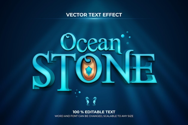 Ocean stone bearbeitbarer 3d-texteffekt mit dunkelblauem hintergrundstil