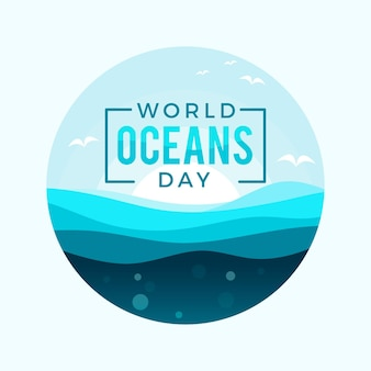 Oceans day event flaches design