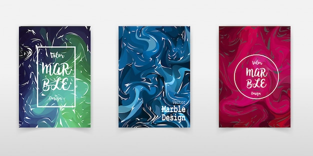 Ocker marmor ink texture cover set.