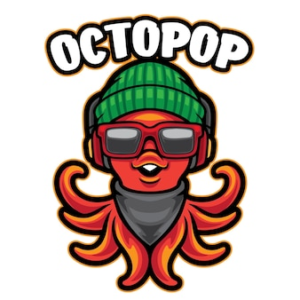 Octopus cute mascot logo