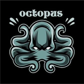 Octopus-detailillustration für hemd-design-vorlage