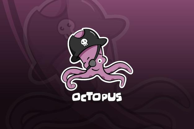 Octopus esport maskottchen design. piraten
