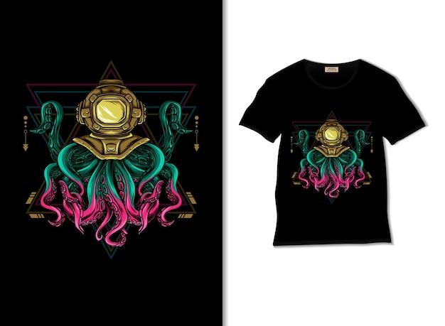 Octopus heilige geometrieillustration mit t-shirt-design